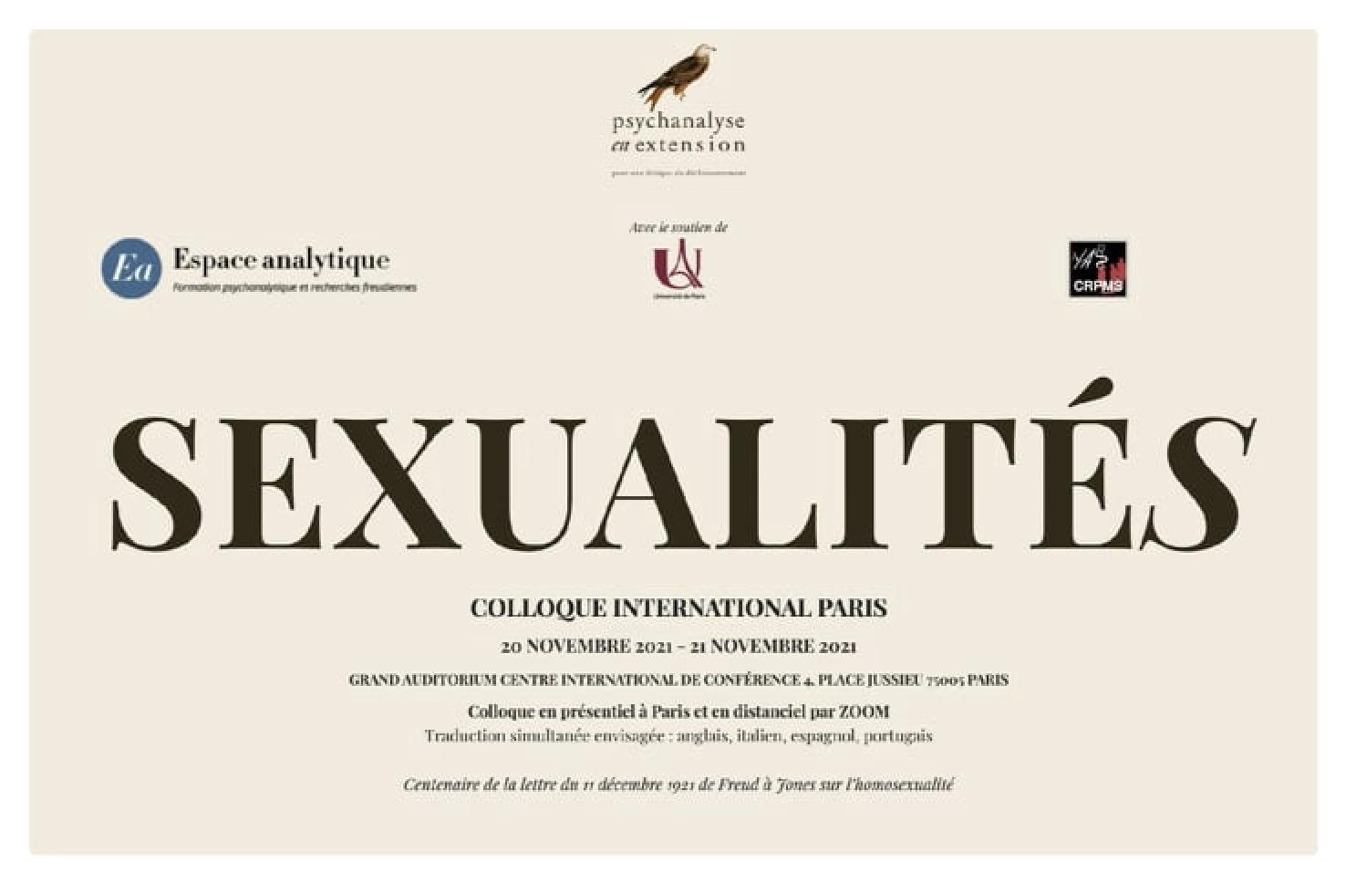 SEXUALITÉ(S) - COLLOQUE INTERNATIONAL PARIS - WE DU 20 NOVEMBRE 2021